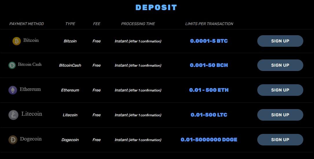 bitcoincasino.us deposit options