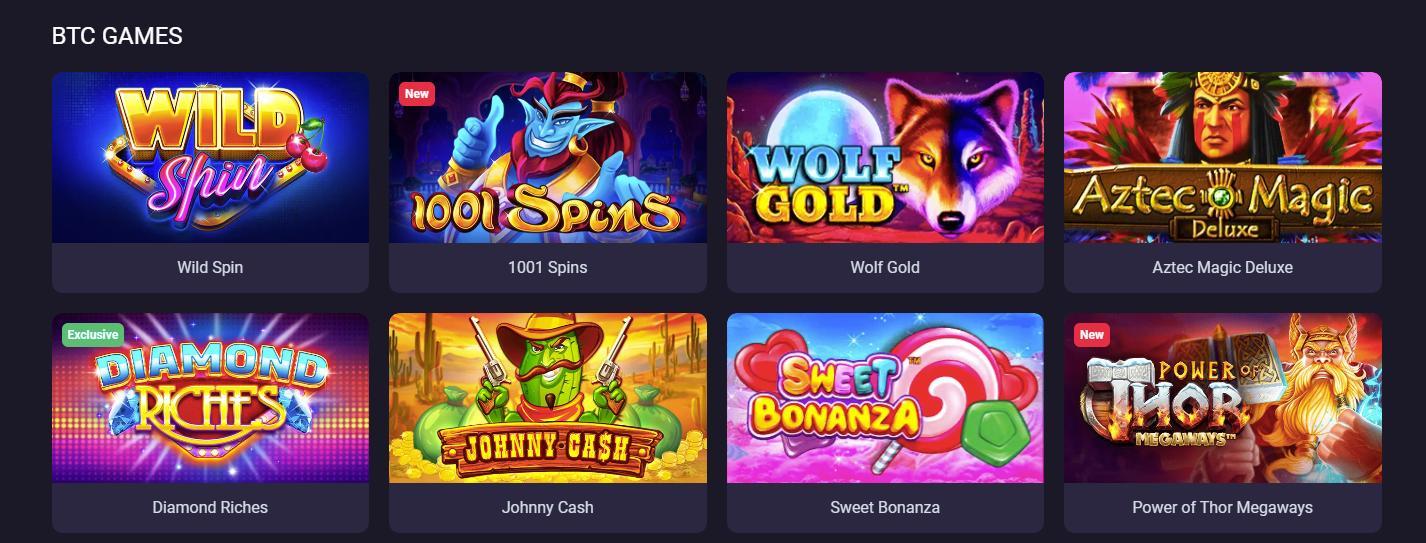 bitcoin game selection screenshot from bitstarz