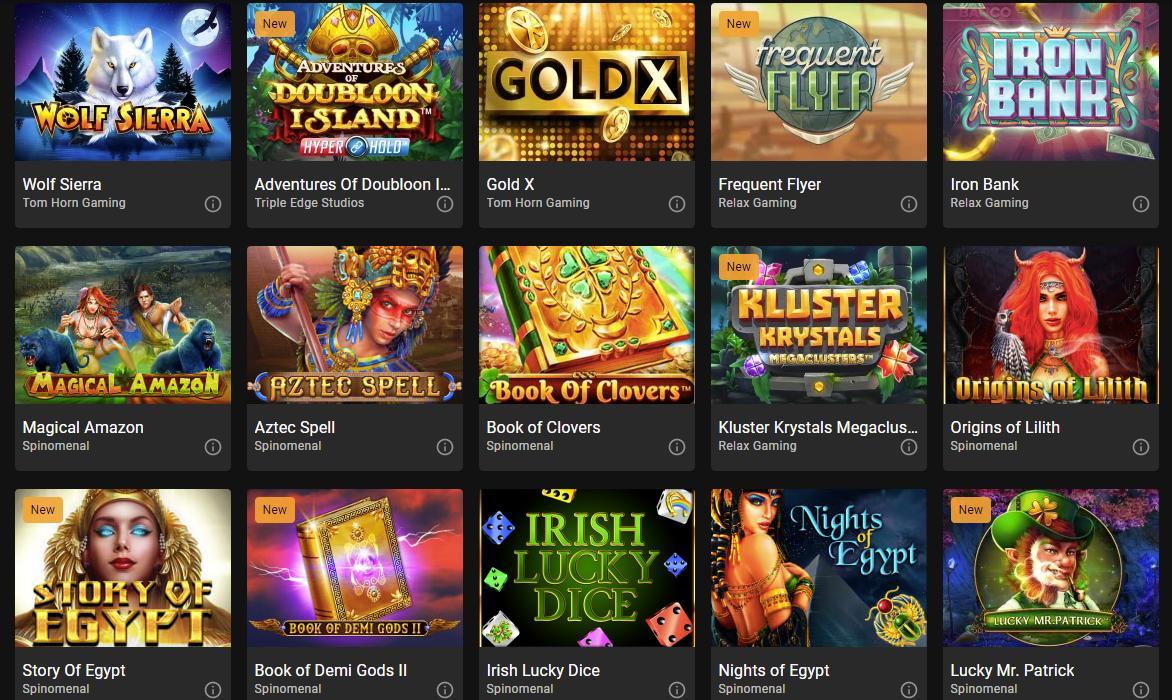 cloudbet game selection