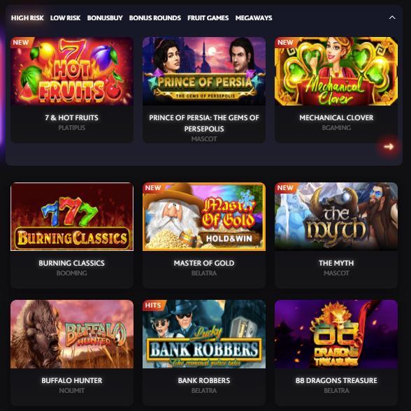 7bit casino games selection screenshot