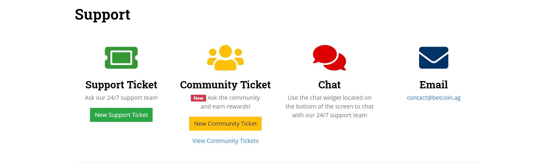 betcoinag customer support page screenshot