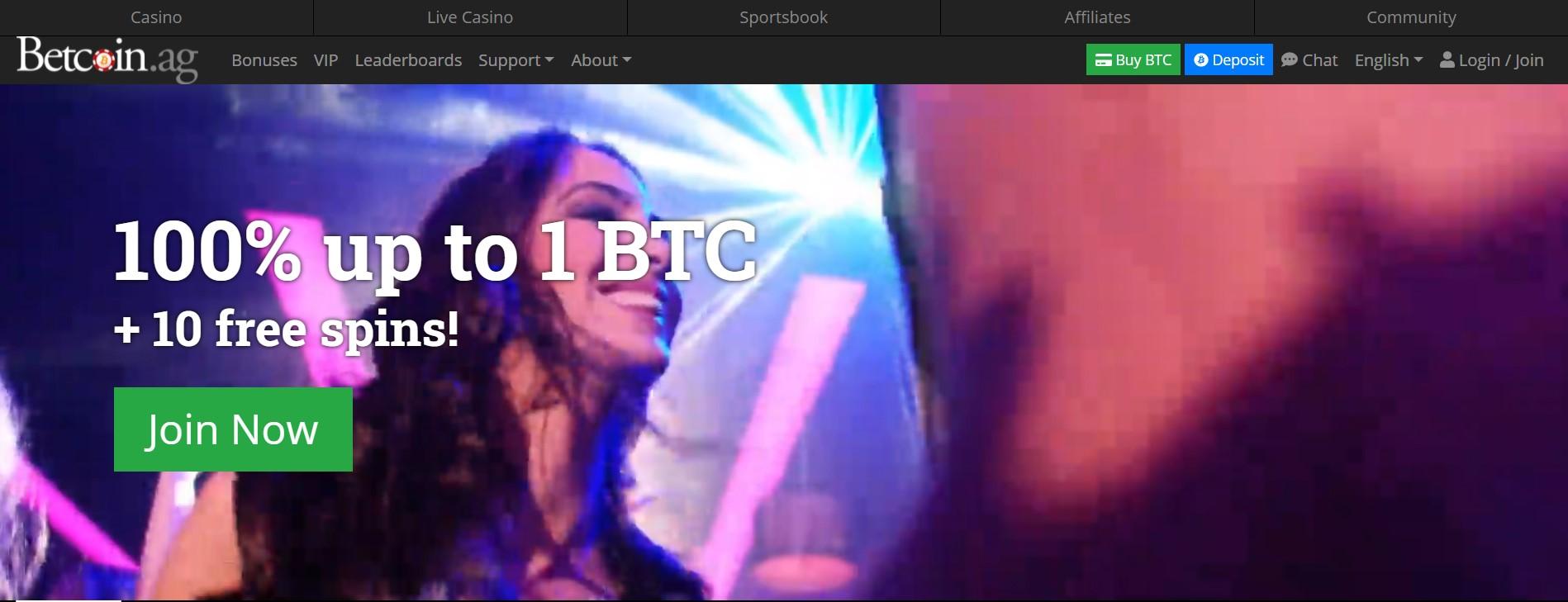 betcoinag welcome bonus page screenshot