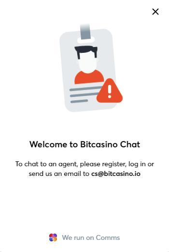 bitcasino contact us page screenshot