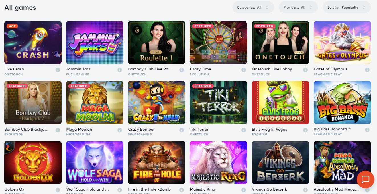 bitcasino game selection screenshot