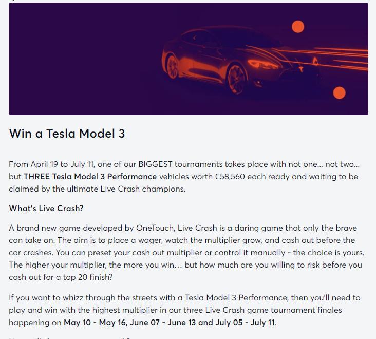 bitcasino tesla promotion screenshot
