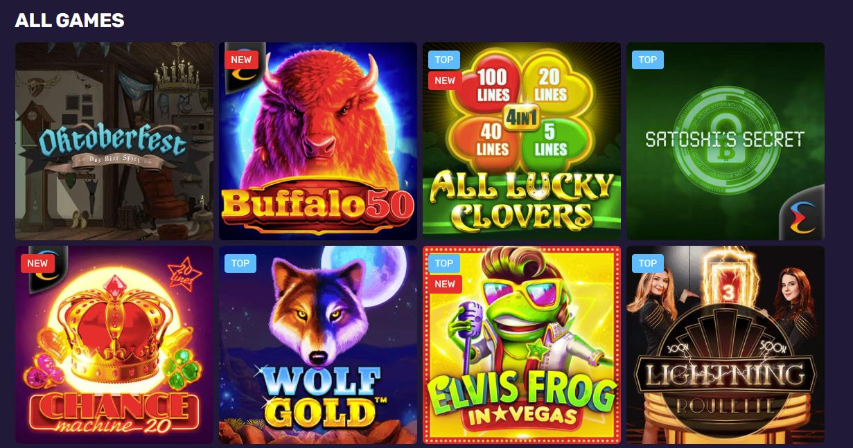 bitoincasinoio games selection screenshot