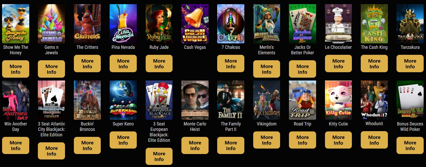 cryptothrills game selection