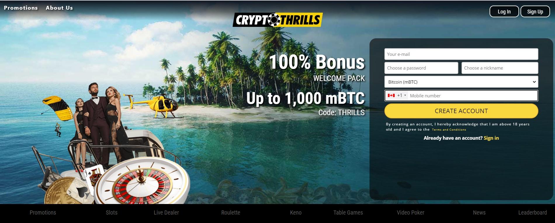 cryptothrills welcome bonus