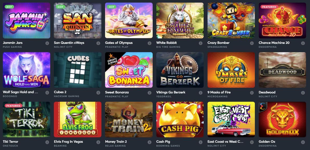 sportsbet.io game selection screenshot