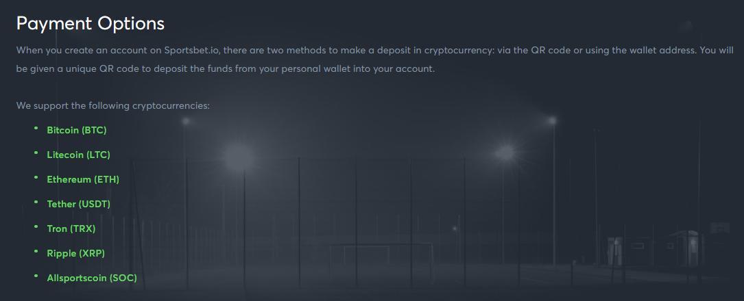 sportsbet.io payment options screenshot
