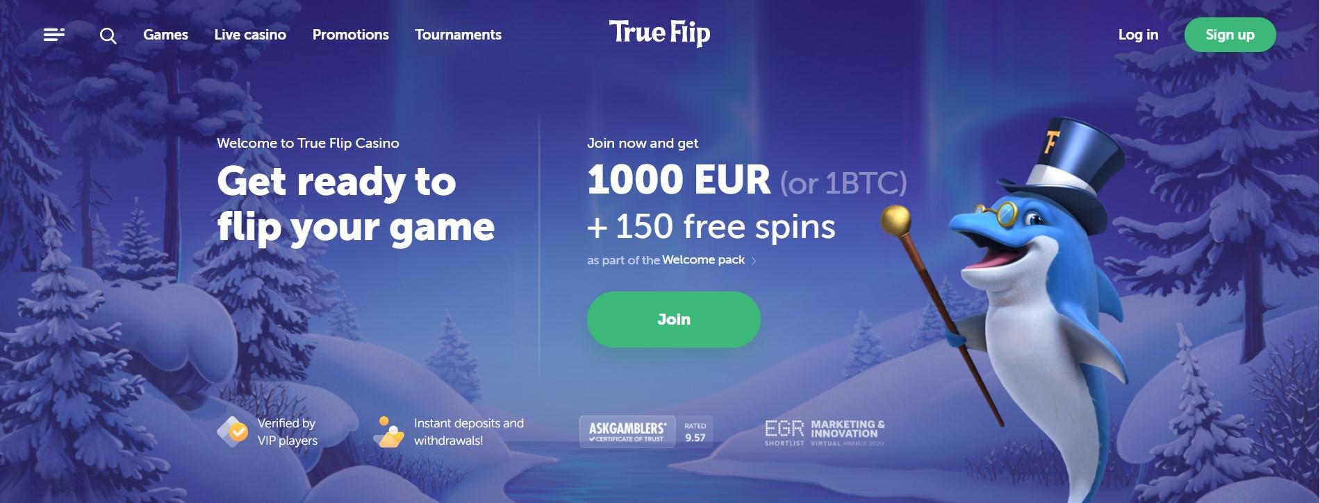 trueflip welcome bonus screenshot