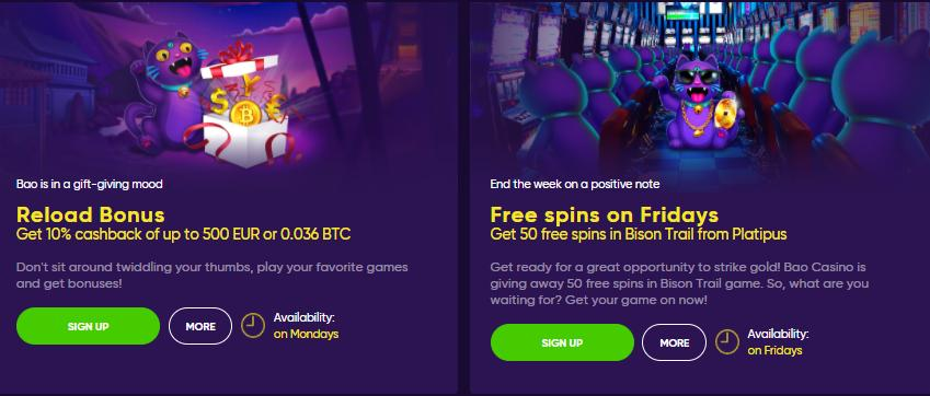 bao casino reload and free spins bonuses