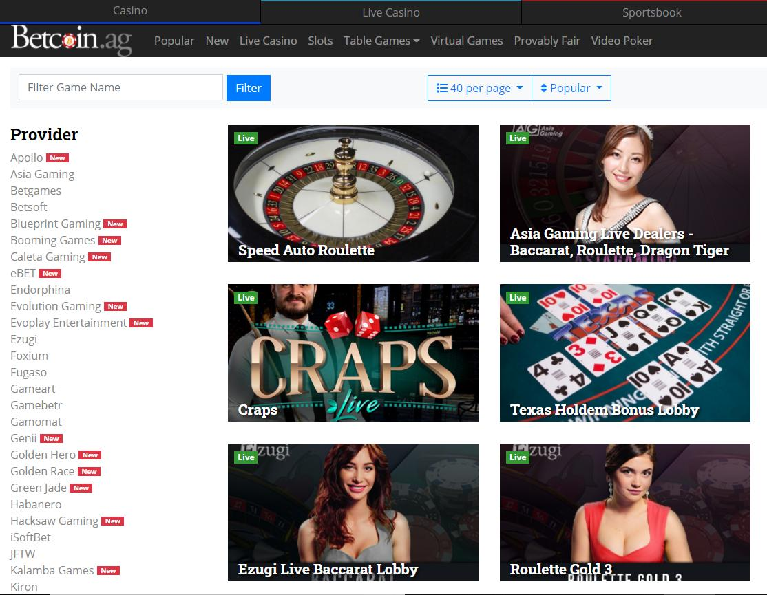 betcoin.ag game selection