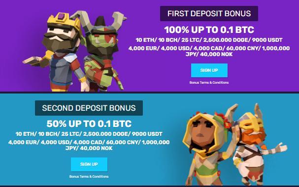 bitcoincasino.io first and second deposit bonuses