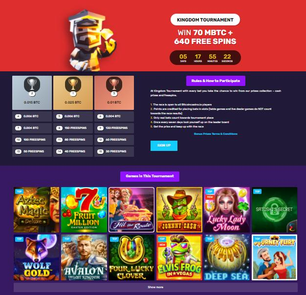 bitcoincasino.io kingdom tournament