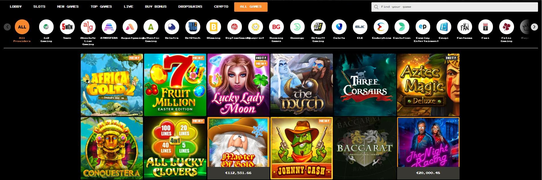 bitkingz games selection