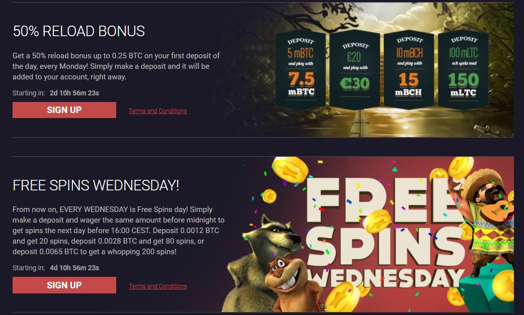 bitstarz promotions screenshot