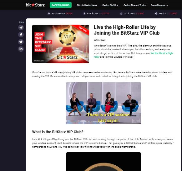 bitstarz vip club terms screenshot