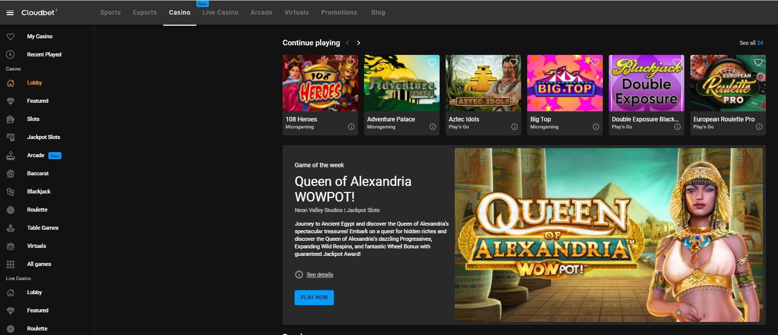 cloudbet casino website page