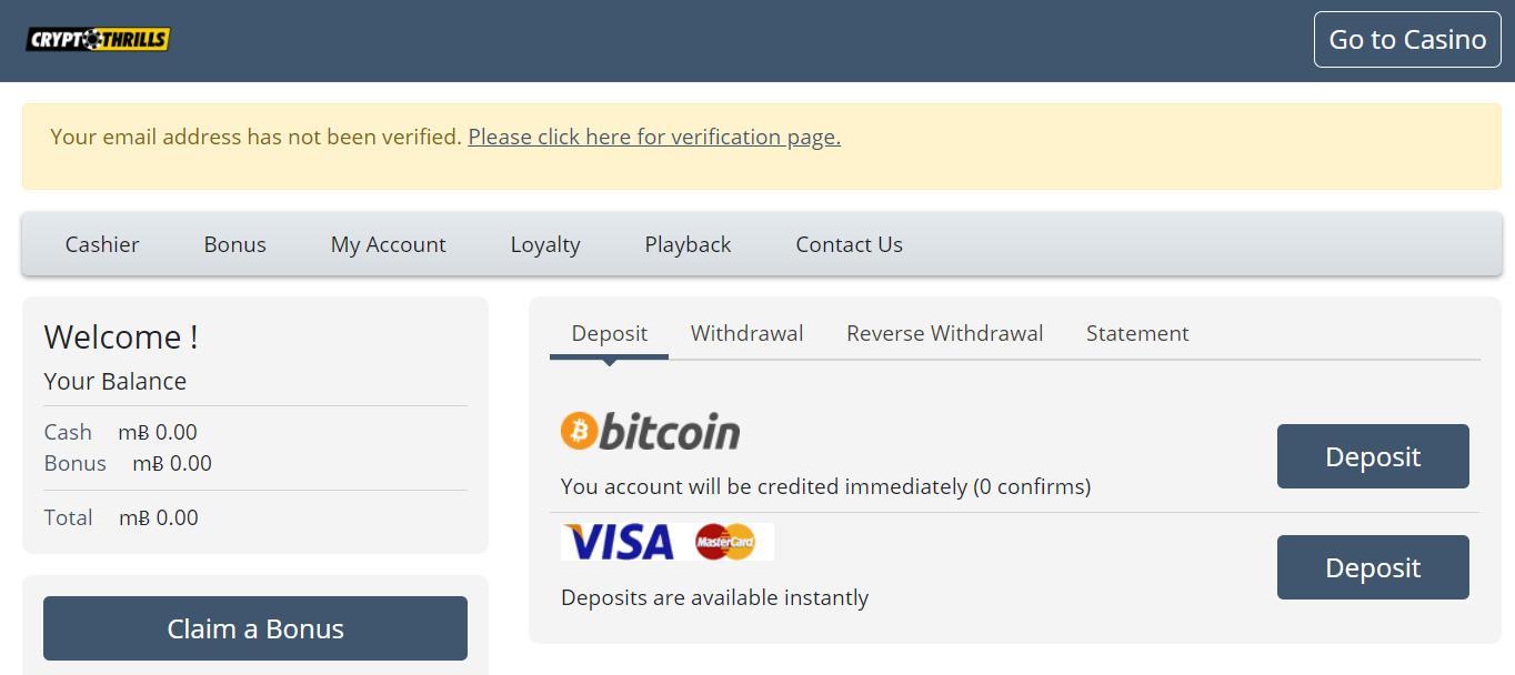 cryptothrills deposit options
