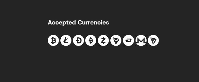 fortunejack accepted cryptocurrencies screenshot