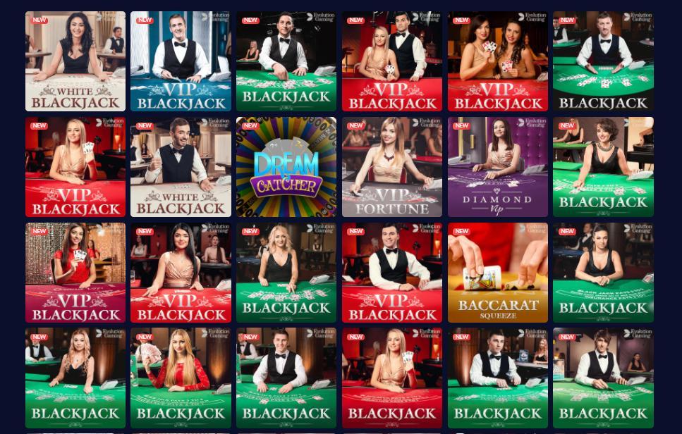 mbit live casino games selection screenshot